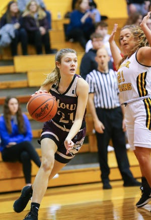 Stow-Munroe Falls guard Lilee Carlson drives to the basket during a game against Cuyahoga Falls last season. Carlson will be a four-year starter for Stow.