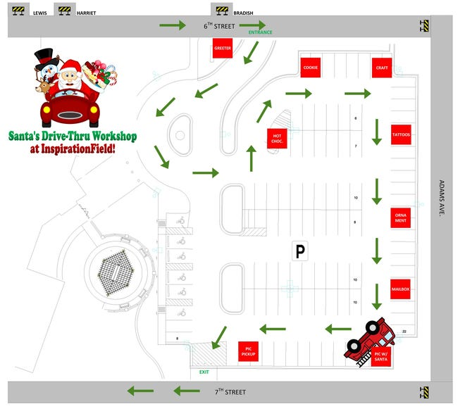 InspirationField's first Santa's Drive-Through Workshop will begin at 4 p.m. on Dec. 2 with the final vehicles taken at 6:30 p.m. at the main entrance to the InspirationField parking lot at 612 Adams Ave. in La Junta.