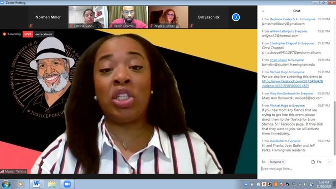 Moriah Leigh Wilkins, granddaughter of Eurie Stamps, speaks in an online conversation about police brutality and racism on Monday. The event was organized by #JusticeForEuire