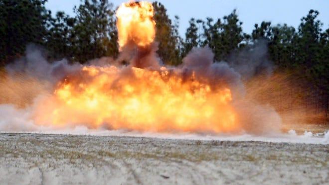 A blast is seen at the Hurlburt Field Explosive Ordnance Device Range in 2016.