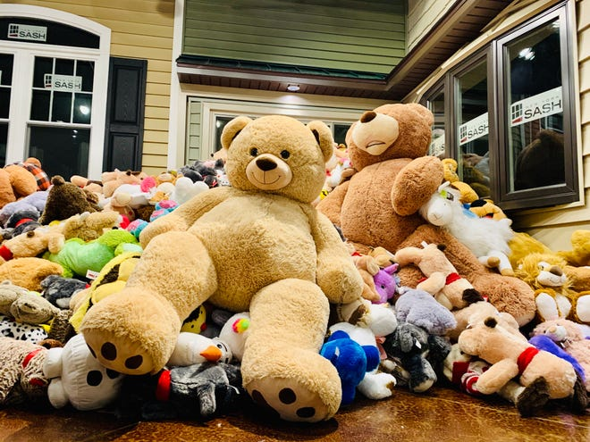 This photo shows a pile of stuffed animals collected during New York Sash's Teddy Bear Toss event in 2019. This year, New York Sash is taking the initiative on the road with a mobile donation rink.