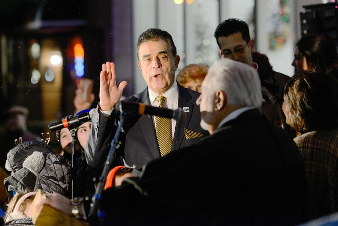 Mayor Robert Palmieri is sworn into office during a ceremony on Dec. 31, 2019, in Utica. A change to term limits in 2017 allowed Palmieri a third consecutive term.