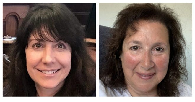 Town Manager Melissa Arrighi, left, says has been monitoring the emails of select board member Betty Cavacco, right.