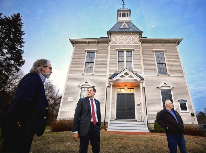 Gov. Chris Sununu visited Centennial Hall last year after it received a $200,000 grant to aid in restoration efforts.