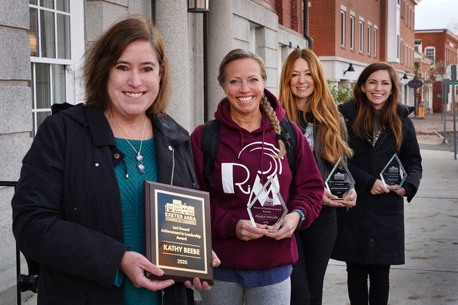 The Exeter Area Chamber of Commerce recently gave out its Women of Excellence Awards. Pictured are award winners Kathy Beebe, executive director of Haven, Pearla Phillips, owner of Fit Body Transformations, Jennifer Desrosiers, owner of Laney and Lu Cafe, and Devin Oot, development director at Haven.