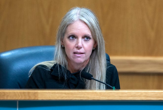 Commissioner Melissa McKinlay speaks in the first part of Tuesday's county commission meeting.