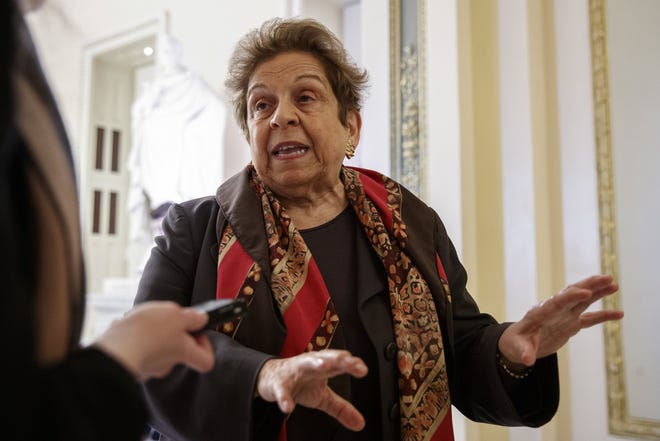 FILE - In this March 12, 2020, file photo Rep. Donna Shalala, D-Fla., speaks to media on Capitol Hill in Washington about the coronavirus outbreak. Four of the five members of the Congressional Oversight Commission have been appointed, but House Speaker Nancy Pelosi and Senate Majority Leader Mitch McConnell have not agreed on who should chair the panel. Shalala is one of the oversight panel's four members. [AP Photo/Carolyn Kaster, File]