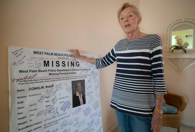 Bobbi Conklin, 77, recently retired after 32 years volunteering with the West Palm Beach Police Department. (ALLEN EYESTONE/THE PALM BEACH POST)