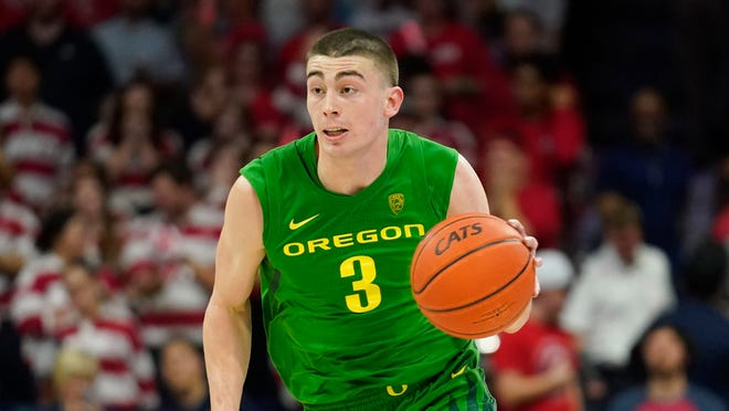 Oregon's Payton Pritchard led the Pac-12 in scoring (20.5) and assists (5.6) while also shooting 41.5% from 3-point range last season in leading the Ducks to the Pac-12 championship.