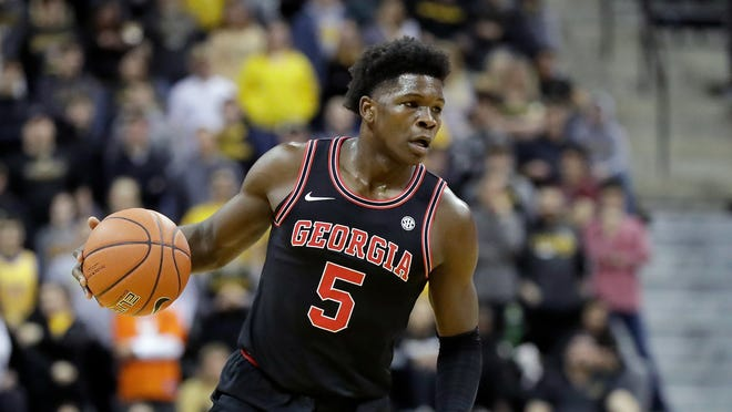 Georgia's Anthony Edwards is a strong candidate to be the No. 1 pick of Wednesday's NBA draft by the Minnesota Timberwolves.
