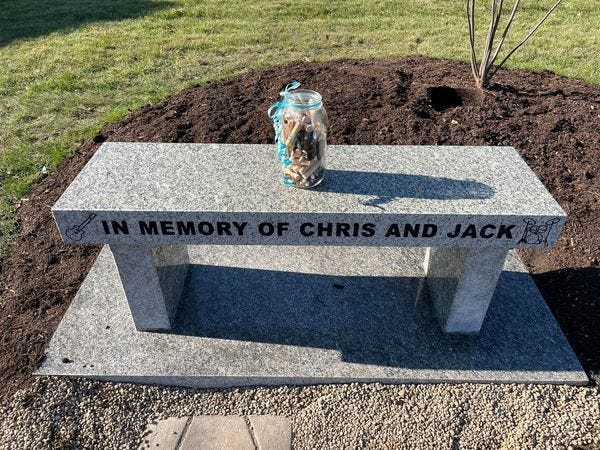 Rockford Christian Schools student Bre recently raised money for a tribute to honor and remember students Chris and Jack Ruckman near the Performing Arts Center.