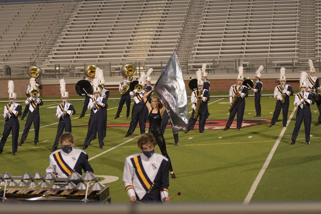 The Stephenville High School Yellow Jacket band performs Saturday in Mineral Wells.