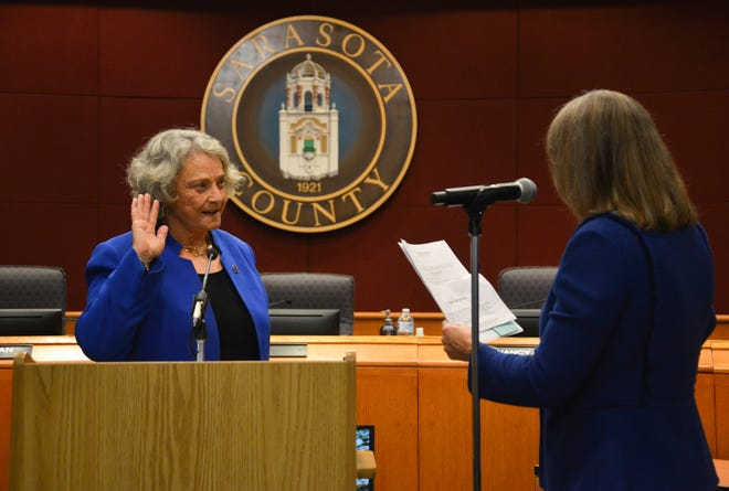 Nancy Detert during her swearing-in ceremony after she was reelected in November. Detert, 76, tested positive for COVID-19 earlier this month.