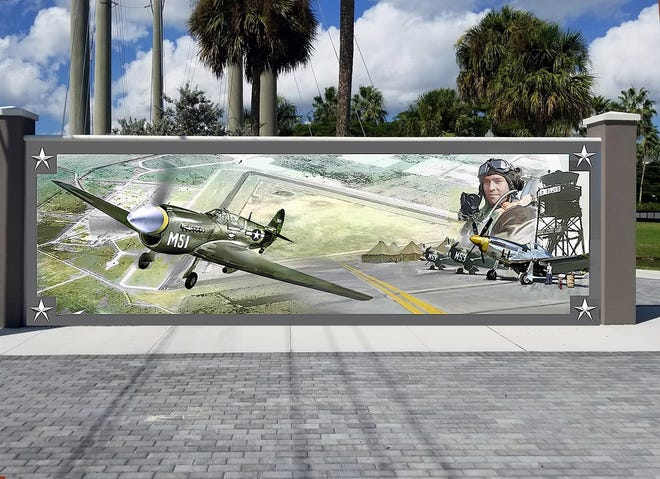 This rendering shows what artist Keith Goodson's mural will look like, once finished on a wall at Veterans Park in Punta Gorda.