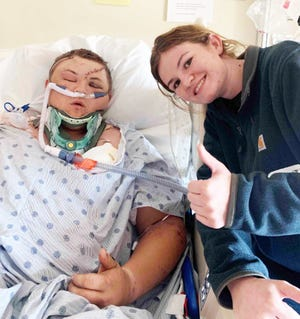 Kade Bernstein and his sister, Skye, at UC Davis, where Kade is recovering from serious injuries after hitting a 400-pound bear on Interstate 5 on Nov. 6, 2020.