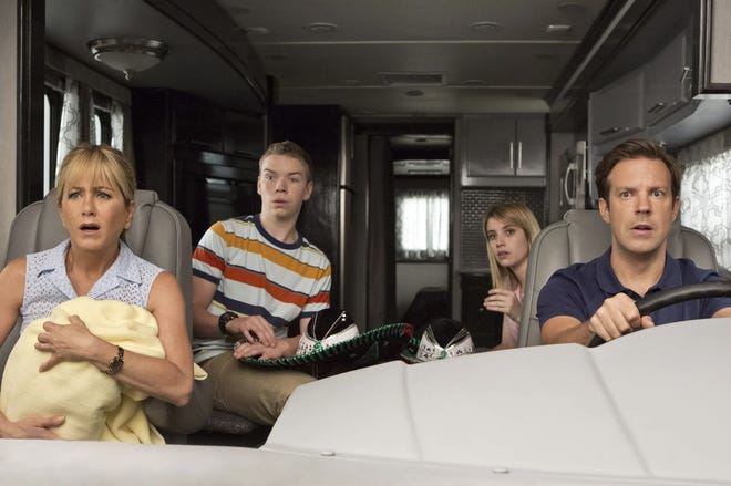 "Jennifer Aniston (left), Will Poulter, Emma Roberts and Jason Sudeikis star in the 2013 Wilmington-shot comedy ""We're the Millers."""