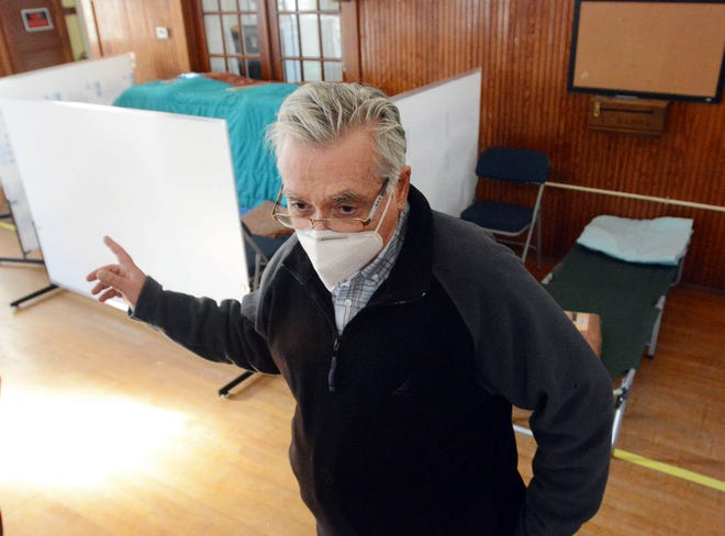 David Shadbegian, director of Homelessness Prevention at the Access Community Action Agency, talks about an overnight cold shelter for up to eight homeless people in the Parish House behind St. Albans' Episcopal Church in Danielson starting Dec 1. [John Shishmanian/ NorwichBulletin.com]