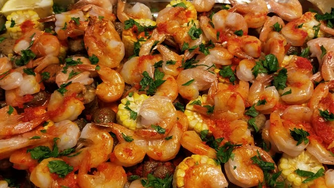 "I made this Cajun shrimp sheet pan dinner using the recipe from ""Magnolia Table"" Volume 2, by Joanna Gaines."