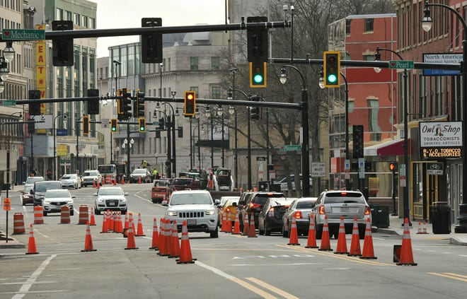 Construction continues on Main Street in Worcester on Tuesday.