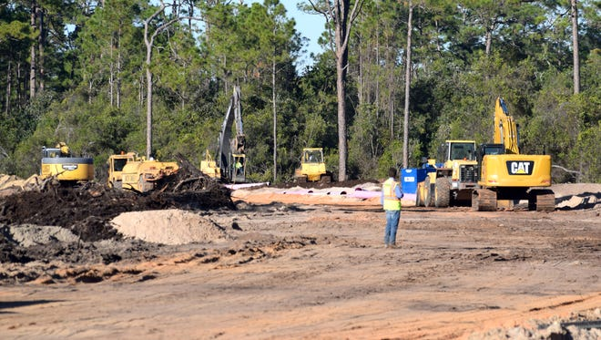 Crews work on Bay Parkway Phase 2, which was designed to ease traffic congestion along Panama City Beach Parkway (Back Beach Road) near Pier Park.