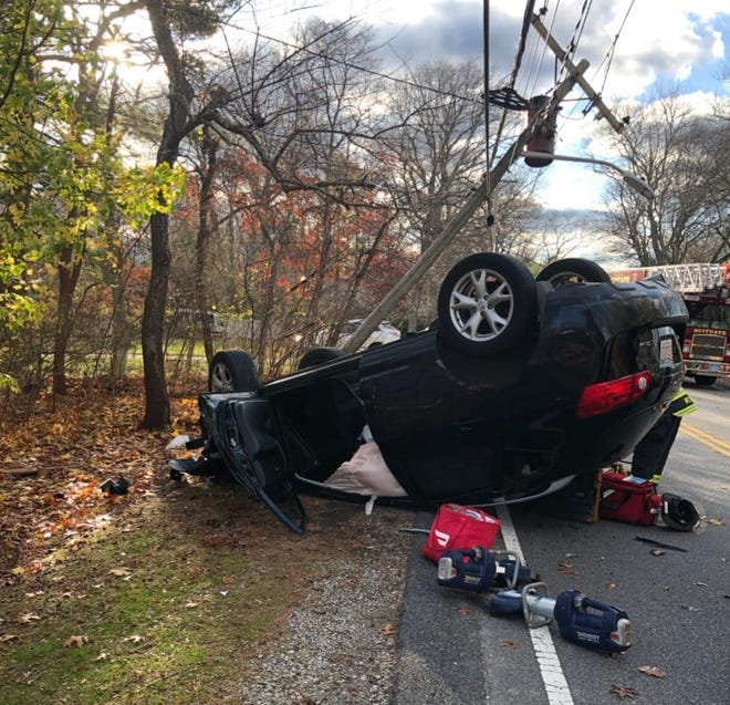 The occupant of the lone vehicle involved in the Nov. 16 accident on First Parish Road received non-life threatening injuries and was taken to the hospital.  Police believe the fact she was wearing her seatbelt prevented her from being ejected from the vehicle and being more seriously injured.