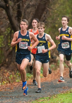 Boys Varsity Cross Country - Needham defeated Newton North 22-33 on October 28, 2020 at Cold Springs Park in Newton, Massachusetts. Michael Cullen, Kyler McNatt, and Thomas Flanagan lead the way against Newton North.