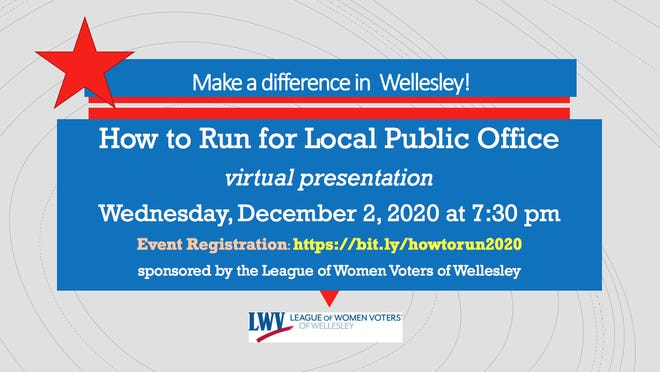 "The League of Women Voters of Wellesley to hold a virtual presentation, ""How to Run for Local Public Office"" at 7:30 p.m. Dec. 2."