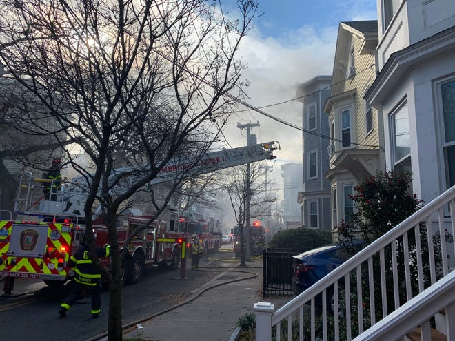 Roughly 50 firefighters responded to a two-alarm fire at a multi-family residence at 171 Columbia St., Cambridge, on Tuesday morning, Nov. 17.