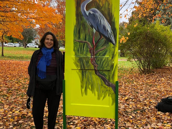 """Emily Passman's """"Heron, Hummingbirds"""" features birds that grace New England's natural landscape in familiar but dramatically different ways in the """"Go Outdoors, Lexington!"""" exhibit."""