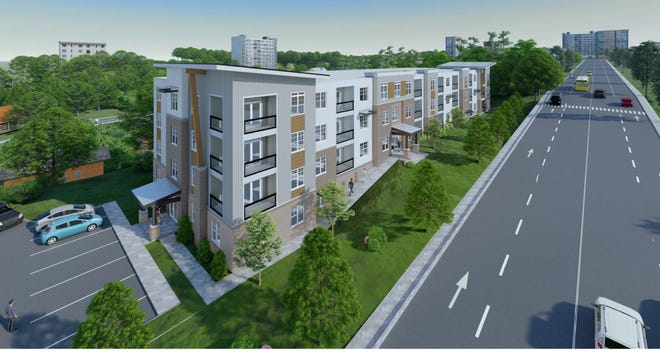 A rendering of the proposed affordable housing development on Asheland Avenue.