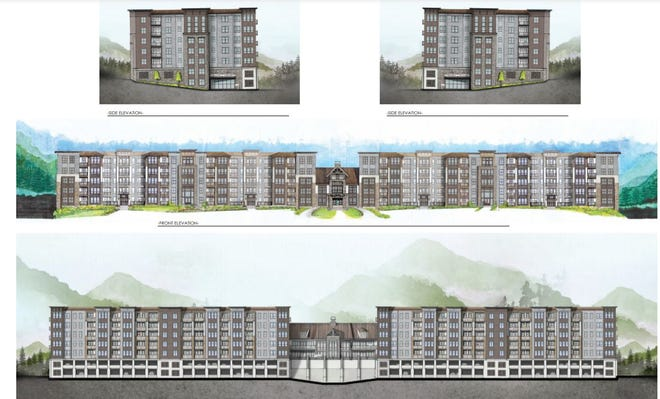 The FIRC Group Inc., based in Asheville, plans to build a 148-room hotel, 180 multi-family condominiums and 10,300 square feet of retail space on a 27-acre site in Enka. These renderings show the hotel and condo buildings.
