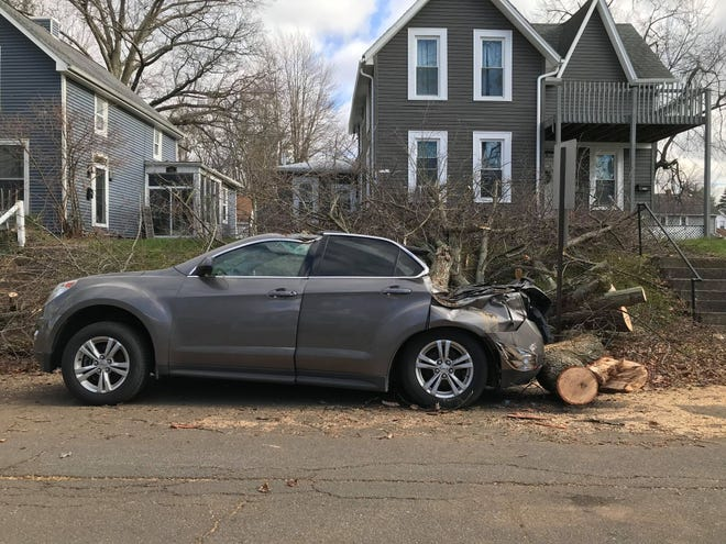 A vehicle in Galion was smashed by a tree that fell during Sunday's wind storm.