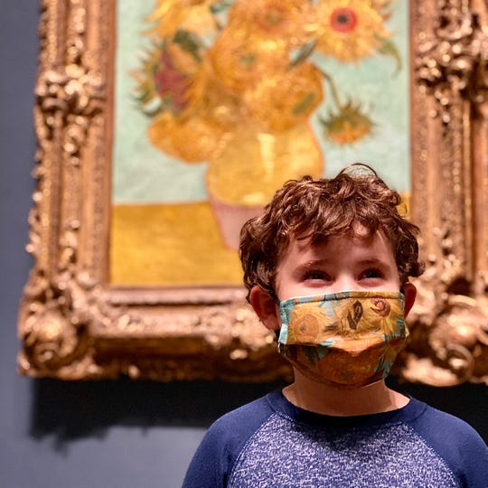 """Face masks inspired by Vincent Van Gogh's """"Sunflowers"""" and other works of art arre available through the Philadelphia Museum of Art's online store."""