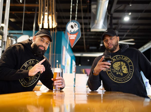 Jamaal Ewing, left, and Terry Rostic will open Michigan's first Black-owned brewery, Black Calder Brewing Co., in late November 2020.