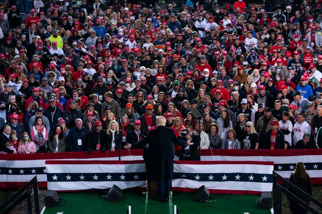 In this Oct. 24, 2020, file photo, President Donald Trump speaks during a campaign rally in Circleville, Ohio.