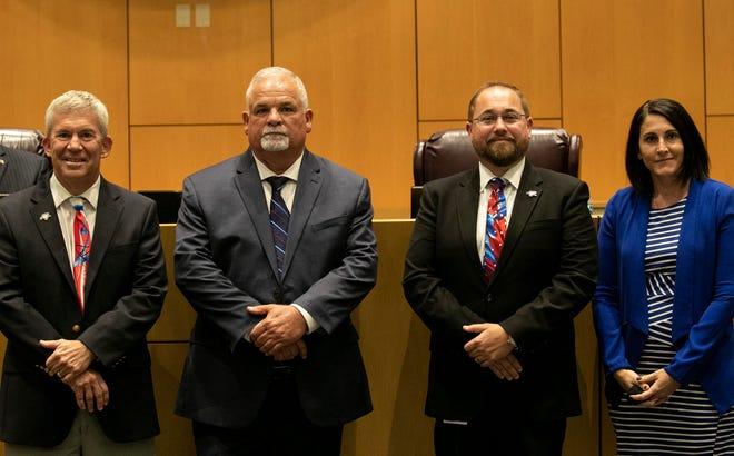 New Cape Coral City Council members Tom Hayden, Dan Sheppard and Robert Welsh were sworn in along with incumbent Jessica Cosden on Monday, Nov. 16, 2020.