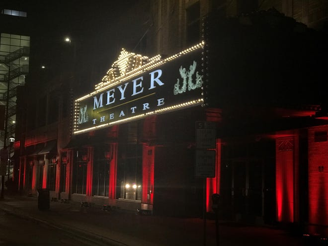 The Meyer Theatre in downtown Green Bay was among hundreds of venues across the country illuminated in red lights on Sept. 1 for Red Alert RESTART, a national movement to raise awareness of the struggles facing live entertainment during the pandemic.