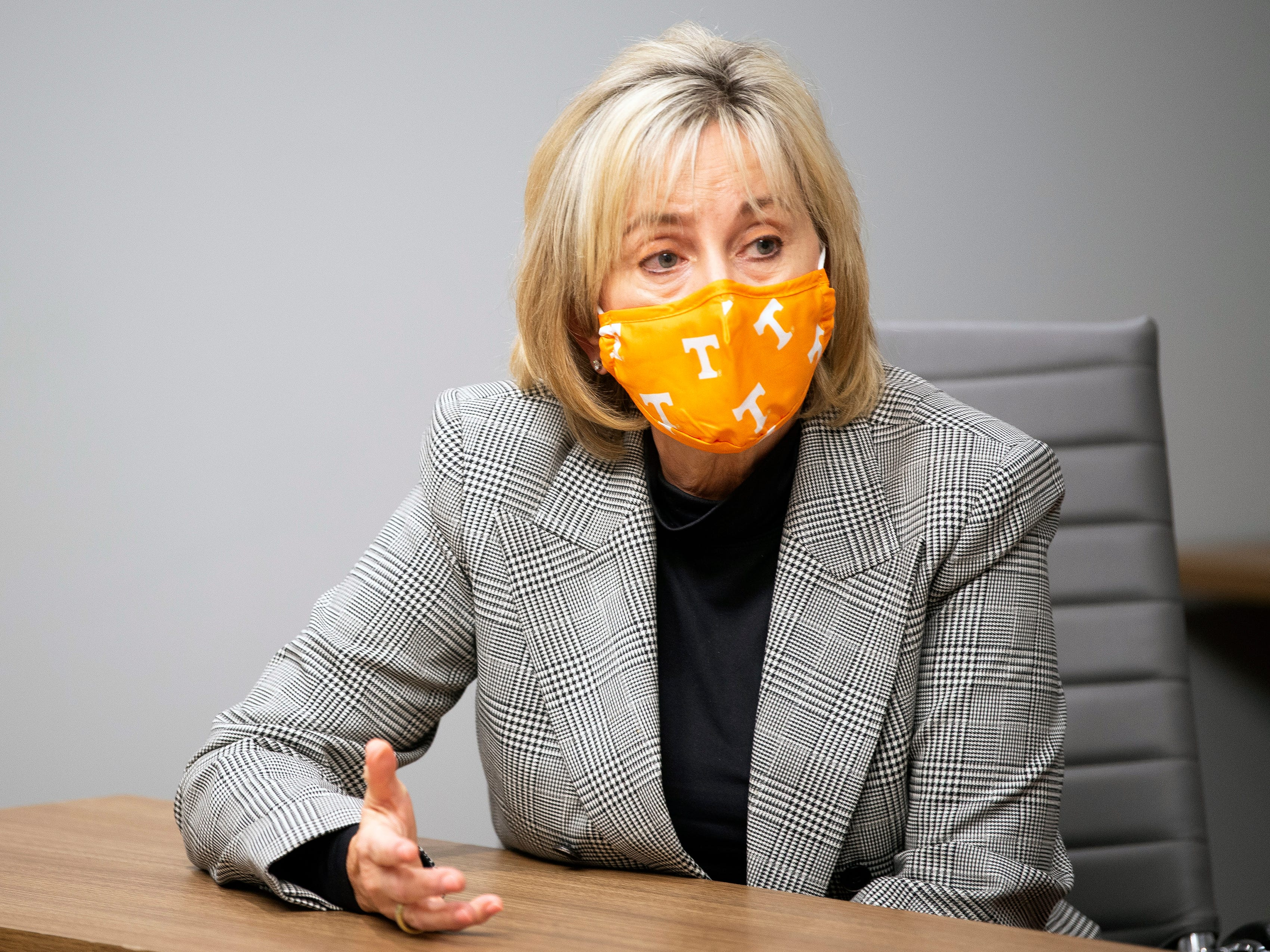 """When Chancellor Donde Plowman started to see students' lax response to COVID-19 safety protocols, she issued a public warning. """"That needs to stop,"""" Plowman tweeted. """"We are not out of this pandemic yet and masks are required. Do your part, mask up and stay distanced."""""""