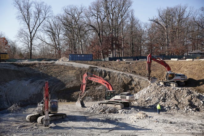 Construction continues on the Murdock Park underground water storage reservoir, Tuesday, Nov. 17, 2020 in Lafayette.