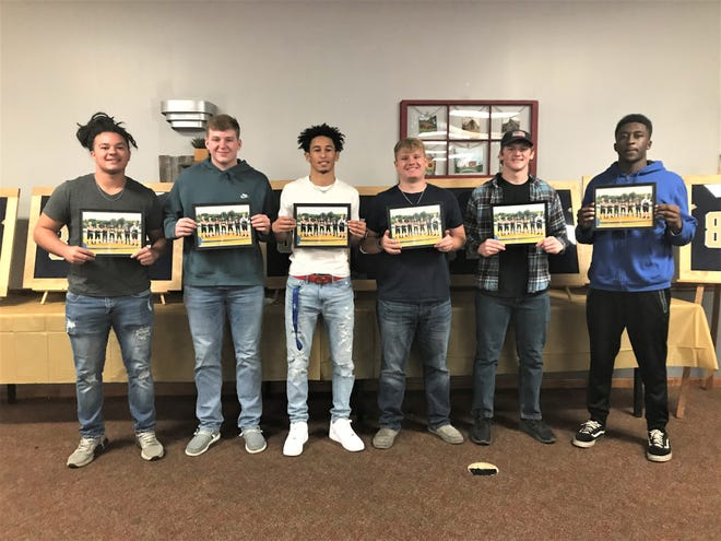 The Lancaster football team held their season-ending banquet Monday night its senior captains from left to right, Zindale Graf, Christian Riley, Titan Johnson, Tanner Taley, Parker Hill and George Sherrick.