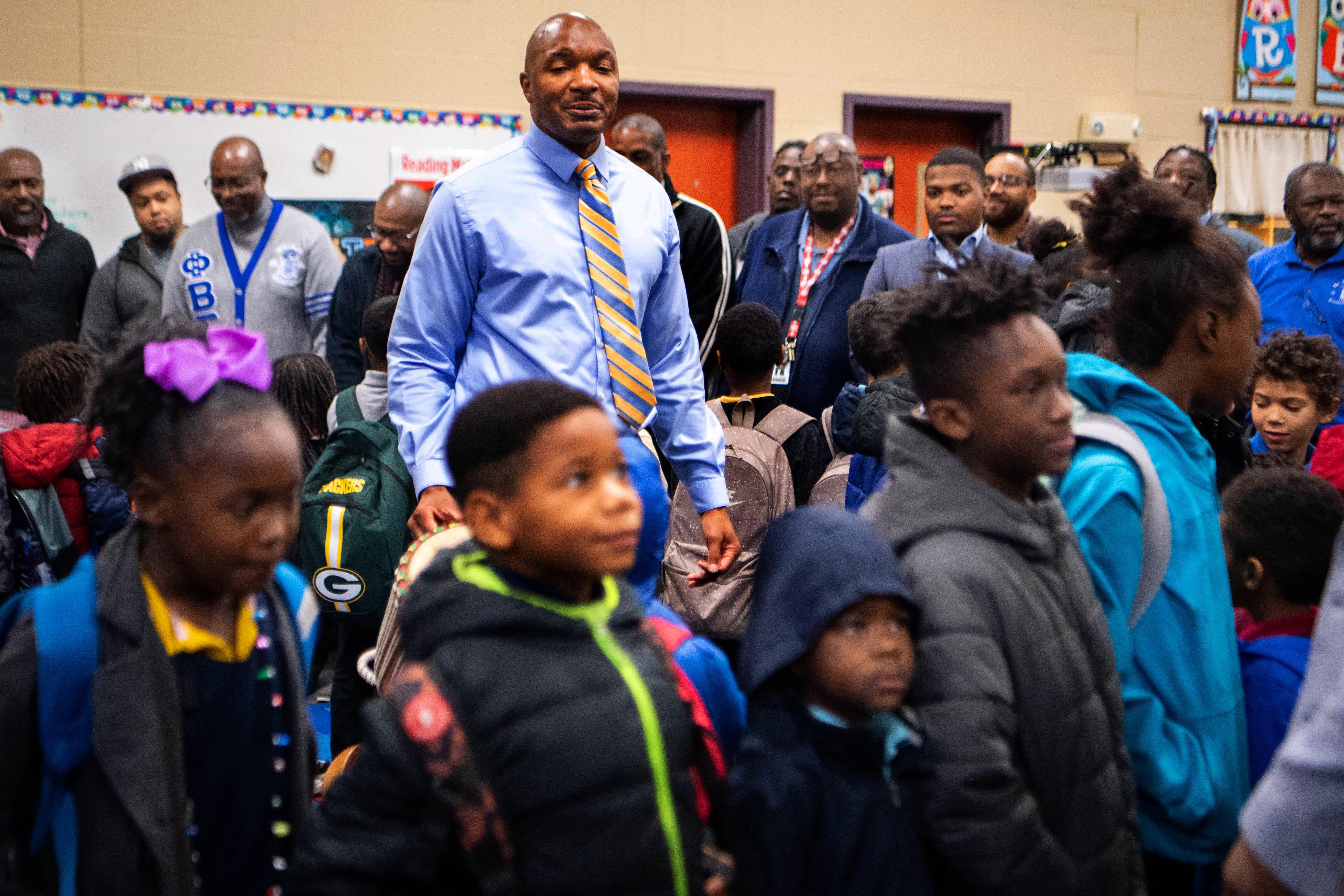 Educator Michael Pratt leads the Fatherhood Fridays group at Buena Vista Elementary School in Nashville, Tennessee.