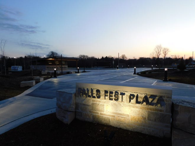 Village Park, near downtown Menomonee Falls, was renovated and will have its ribbon-cutting ceremony Dec. 2. The plaza part of the park will be called Falls Fest Plaza in honor of the Falls Fest organization which operated an annual festival at Village Park from 1992 to 2016.