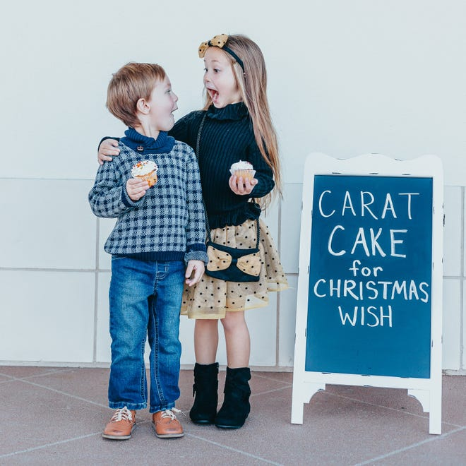Benjamin Brown and Harlynn Bo are excited about the carat cake fundraiser at Carter's Jewel Chest, and you should be, too. The fundraiser, which benefits the Christmas Wish program, returns this Friday and Saturday.