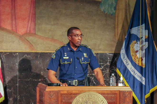 Louisiana State Police Col. Lamar Davis speaks during a November 13, 2020 press conference.