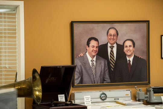 A portrait of owners Raymond Cohen and his sons Michael and David at Cohen's Electronics in Montgomery, Ala., on Tuesday, Nov. 17, 2020.