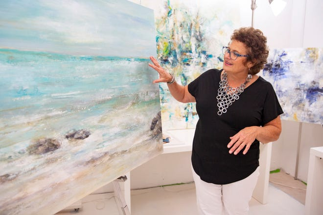 Artist Sandee Mahler talks about her art during an interview, Monday, Nov. 16, 2020, at her studio, ARTEDGE in North Naples.