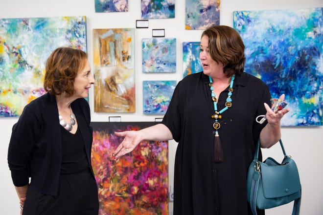 Artist Valerie Blauvelt, left, and interior designer Diane Torrisi participate in an interview, Monday, Nov. 16, 2020, at Art2Amaze in North Naples.