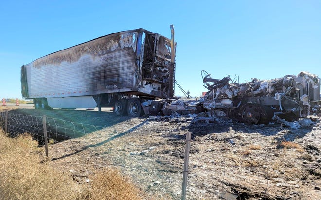 The remains of a semi tractor trailer fire on I-10 west.