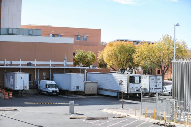 Mobile morgues are set up at Memorial Medical Center in Las Cruces due to a surge in COVID-19 hospitalizations and deaths. Pictured on Tuesday, Nov. 17, 2020.