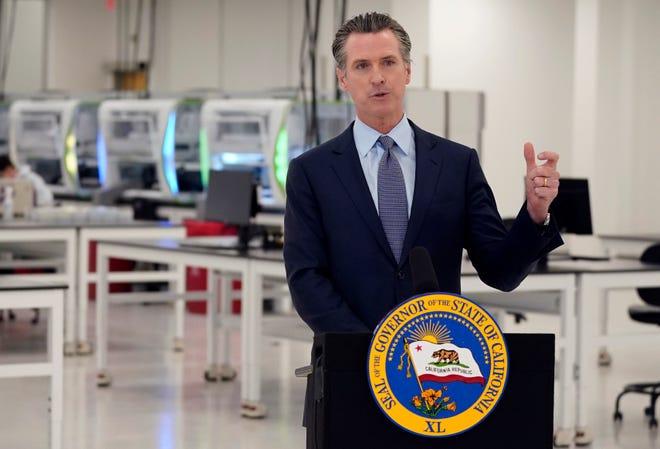 California Gov. Gavin Newsom speaks at a COVID-19 testing facility in Valencia, Calif., on Oct. 30, 2020.